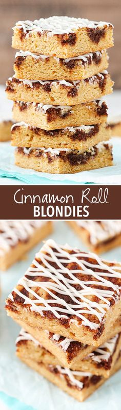 These Cinnamon Roll Blondies have a brown sugar blondie base with swirled cinnamon roll filling, all drizzled with a delicious icing! Best Dessert Recipes, Fun Desserts, Sweet Recipes, Delicious Desserts, Bar Recipes, Baking Recipes, Cookie Recipes, Brownie Recipes, Cheesecake Recipes