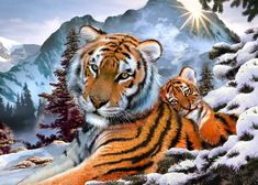 Compare Discount Full diamond embroidery tiger nestled diamond mosaic diy diamond painting hobbies and crafts patchwork accessories drill Snow Tiger, Tiger Cub, Tiger Love, Paint By Number Kits, Mosaic Diy, 5d Diamond Painting, Cross Paintings, Paint Set, Wildlife Art