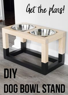 Simple DIY Dog Bowl Stand Plans Love this! Easy DIY Dog bowl stand plans that are so easy to make! Easy Woodworking Projects, Woodworking Furniture, Diy Wood Projects, Furniture Projects, Wood Furniture, Woodworking Plans, Woodworking Workshop, Woodworking Basics, Woodworking Machinery