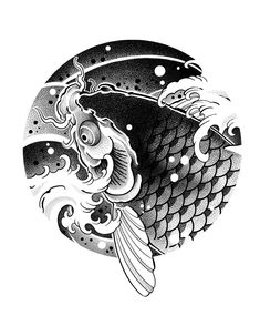 Japanese Fish Tattoo, Japanese Drawings, Koi Fish Tattoo, Japanese Koi, Japanese Tattoo Designs, Fish Tattoos, Circle Tattoo Design, Circle Tattoos, Japan Tattoo Design