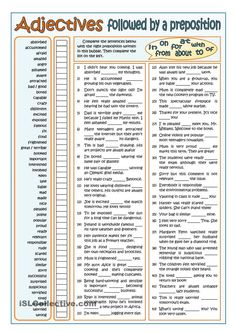 ADJECTIVES FOLLOWED BY PREPOSITIONS - PART 1 ESL worksheet of the day