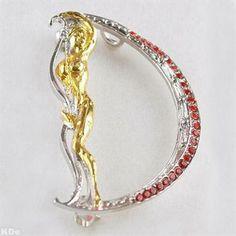 "Genuine ERTE Design! The Letter ""D"" Pendant/Brooch! Solid Gold-Plated Sterling Silver with Swarovski Crystals"