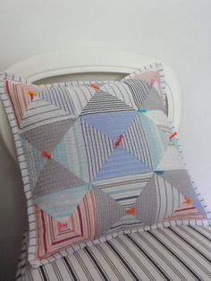 Recycled Striped Shirts Hand Quilted Patchwork Cushion. #almofadas #pillows
