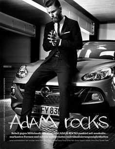"""LADO ALEXI · GQ ADVERTORIAL OPEL ADAM // Lado Alexi shot the GQ Advertorial """"Adam rocks"""" with new Opel car. The cool Images mostly in black & white feature the new car-style generation. GQ Magazine and Lado stage an elegant, rock´n roll attitude and help creating a new, young and cool Opel image. The male character model and urban location strongly underline that direction."""