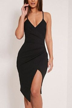Being in love with fashion and showing the city your style is the best thing. This bodycon sexy party dress with sleeveless details, splited hem and V neck. It is best design for girl during spring & summer. Trendy Dresses, Sexy Dresses, Cute Dresses, Evening Dresses, Casual Dresses, Fashion Dresses, Prom Dresses, Elegant Dresses, Black Club Dresses