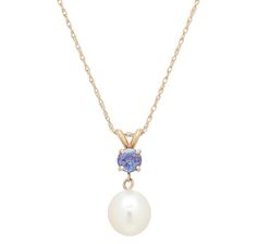 14k white gold diamond tanzanite pendant unique shape pearl lustre 14k yellow gold freshwater pearl tanzanite pendant with chain aloadofball Image collections