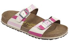 Papillio Sydney Awning Stripe Pink Canvas Two thinner, contoured straps make this style very comfortable for those with prominent foot bones. Creative patterns and materials set the Papillio Sydney apart. #birkenstock #birkenstockexpress.com  $120