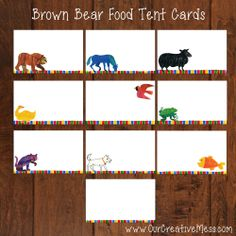 **If you would like custom wording, please contact me before ordering. These Brown Bear, Brown Bear table tent cards are perfect for any birthday party or special event!This is for a set of...