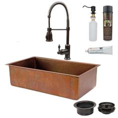 Premier Copper Products All-in-One Undermount Copper 33 in. 0-Hole Single Basin Kitchen Sink in Antique Copper-KSP4_KSB33199 - The Home Depot
