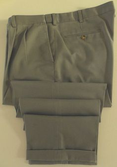 1894d64909 ORVIS Pants 45 30 Mens GREEN Taupe CHINOS Stretch WAIST Pleated COTTON Sz  SIZE**