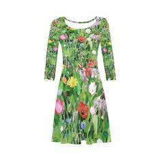 Colorful Flower Garden Floral Art 3/4 Sleeve Sundress (D23)