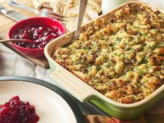 Our traditional sausage and sage Thanksgiving stuffing owes its perfect texture to oven-dried bread, which soaks up a rich base of eggs, broth, and butter. Thanksgiving Stuffing, Thanksgiving Menu, Stuffing With Sausage, Cornbread Sausage Stuffing, Make Ahead Stuffing, Homemade Stuffing, Turkey Stuffing, Bon Appetit, Kitchens