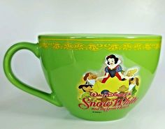 Disney Store Snow White and the Seven Dwarfs Large Coffee Soup Mug Cup Green #DisneyStore