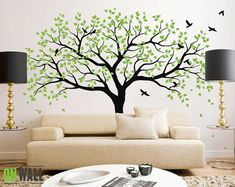 Large Tree Wall Decals Trees Decal Nursery Tree by ONWALLstudio
