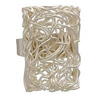 Modern silver Energized cocktail ring from NOVICA