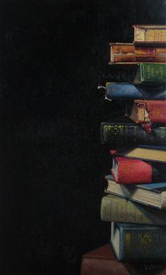 Ephraim Rubenstein, Book Pile XXIX, oil on linen. Book Wallpaper, Wallpaper Backgrounds, Iphone Wallpaper, Book Photography, Creative Photography, Photos Amoureux, Powerpoint Background Design, Book Background, Book Aesthetic