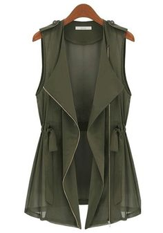 Great transitional piece for fall. Army Green Drawstring Vest in love with this peace find more women fashion ideas on www.misspool.com