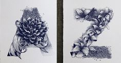 Artist draws the entire alphabet after finding inspiration in flowers and animals