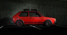 Volkswagen automobile - Volkswagen Rabbit lit at night