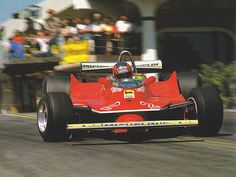 Long Beach GP, 1980: Gilles Villeneuve hangs it out. He started fifth, but retired at 17 laps with a broken halfshaft. Alan Jones in a Williams won.