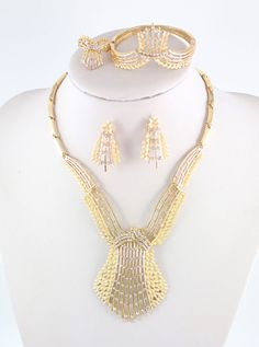 Fashion 18K Gold Plated Crystal Necklace Women Wedding Party Gift Jewelry Set #Handmade