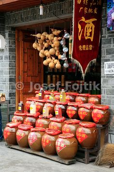 Local special liquer shop, Fenghuang town, Hunan, China