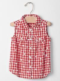 Starry gingham sleeveless shirt