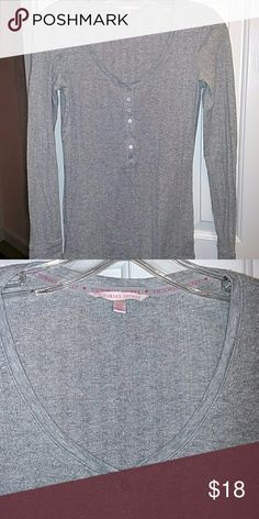 Victoria's Secret top Long sleeve silver sparkly Henley Victoria's Secret Tops Tees - Long Sleeve