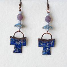 Celtic Cross Earrings, Japanese Kimono, Asian Earrings, Enamel Copper Earrings, Dangle Earrings, Handmade Earrings, Womens Gift by bleuluciole on Etsy