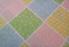 KING Flat Vtg Sheet Sears Country Patchwork Floral Pink Yellow Blue Green Cutter