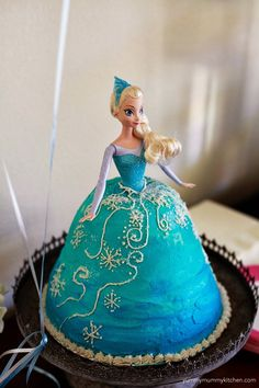 Disney Frozen birthday party cake that looks like Elsa's dress