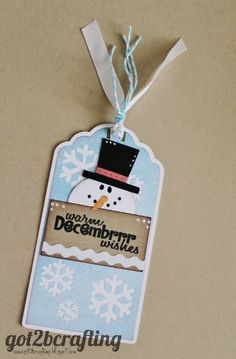 Warm Decembrrrrr Wishes Snowman Tag - created using Silhoutte Cameo and stamped with Joy'sLife.com stamp set Wintery Puns