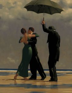 Jack Vettriano - couple in black dance on beach with servant holding umbrella