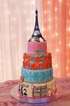 Party Themes For Teen Girls Sweet 16 Eiffel Towers 48 Ideas Paris Birthday, My Birthday Cake, Sweet 16 Birthday, 15th Birthday, Birthday Ideas, Cupcakes, Cupcake Cakes, Beautiful Cakes, Amazing Cakes