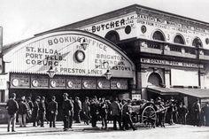 Old Flinders Street Station Melbourne Vic. Australia.  (no date given, but pre 1900 when work on now station began)