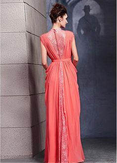 In Stock Stunning High Collar Lace Pleated Evening Dress