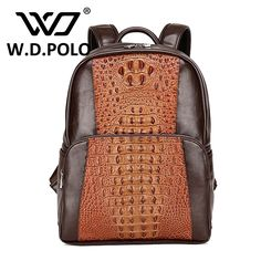 (38.43$)  Watch now - http://aix25.worlditems.win/all/product.php?id=32767882217 - W.D POLO Alligator pattern split leather mens classical backpack high capacity color patchwork male hand bags high chic M2501