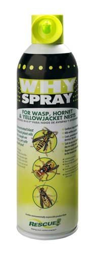 $7.99 Rescue WHY Spray for: paper wasp nests, bald-faced hornet, European hornet or aerial yellow jacket nests, underground yellow jacket nests.  Unique features and benefits: formulated with natural plant oil, tough on insects, safe around people and pets, confuses bugs instantly, kills within seconds.  Coats, penetrates and destroys the nest.    Repels insects returning to the treated nest.  Sprays up to 15 feet!  Shelf life: Does not expire. Made in USA.