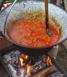 Beef roasted in a cauldron - Marhapörkölt bográcsban - Ágnes:) szakácskönyve Hungarian Recipes, Goulash, Stew, Food And Drink, Cooking Recipes, Foods, Drinks, Blog, Gastronomia