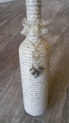 Wine Bottle - Shabby Chic - Farmhouse Decor - Anniversary Gift - Home Decor - Decoupage - Bottle Necklace - Gifts for Her - Birthday Gift Glass Bottle Crafts, Wine Bottle Art, Wine Cork Crafts, Diy Bottle, Jar Crafts, Twine Wine Bottles, Painted Wine Bottles, Decorative Wine Bottles, Wine Decor