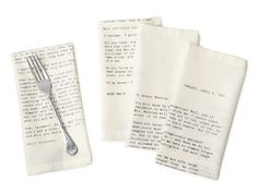 I LOVE these love letter napkins from uncommongoods.com. The letters were written by literary greats Emily Dickenson, Jack London, Mark Twain, and D.H. Lawrence. Via Design Crush.
