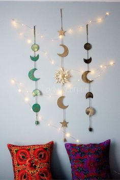 Moon Phases Sun Moon Stars Wall Hanging Decor Twinkle Lights by Lady Scorpio Shop Now Photogra Moon Phases Sun Moon Stars Wall Hanging Decor Twinkle Lights by Lady Scorpio Shop Now nbsp hellip Diy Wall Decor, Bedroom Decor, Bedroom Ideas, Moon Decor, Warm Bedroom, Bedroom Lighting, Wall Hanging Decor, Wall Hangings, Bedroom Wall