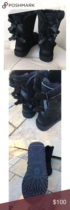 Short Bailey Bow Uggs - price firm BRAND NEW without box. All fluff inside is still in tact, no flaws, perfect condition. Women's size 8 & a youth size 6💕 PRICE IS FIRM UGG Shoes Winter & Rain Boots