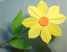 How to make pretty paper craft origami yellow flower step by step DIY tutorial instructions