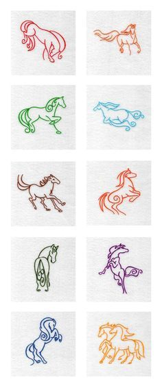 Art Deco Horses Embroidery Machine Design Details -- Would also make splendid…