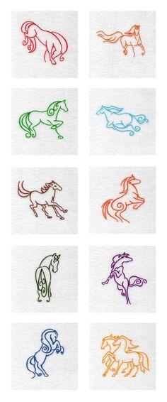 Art Deco Horses Embroidery Machine Design Details -- Would also make splendid…