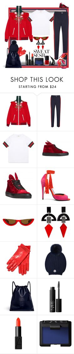 """""""Of course I have my sneakers with me! What did you think?"""" by ritva-harjula ❤ liked on Polyvore featuring Gucci, Minna Parikka, Pierre Hardy, Toolally, John Lewis, Moncler, A-Esque, NARS Cosmetics, NYX and minnaparikka"""