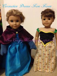 Anna and Elsa's coronation dresses from Frozen for American Girl