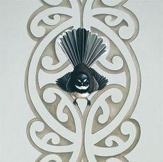 Piwakawaka's Kowhaiwhai by Jane Crisp Card available from Image Vault Ltd New Zealand Houses, New Zealand Art, Maori Designs, Maori Art, Kiwiana, Fine Art Prints, Lino Prints, Bird Design, Art Boards