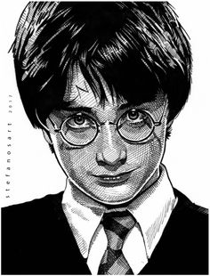 Harry Potter Drawings, Harry Potter Art, First Harry Potter, Celebrity Portraits, Dog Portraits, Black Pen Sketches, Iron Man Drawing, Avengers Drawings, The Woman In Black